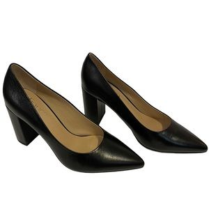 NIB FRANCO SARTO Palma Black Leather Block Heels